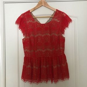 Maeve Red Peplum Lace Top, Fully Lined, Size M